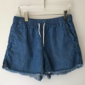 Madewell Shorts - Madewell Pull On Chambray Raw Hem Shorts